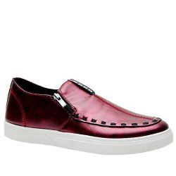 Trendy Solid Color and Zip Design Casual Shoes For Men - WINE RED