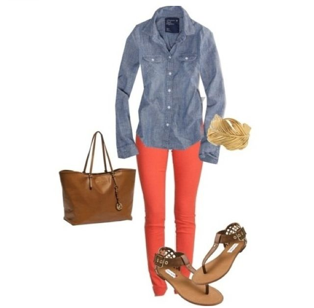 Coral pants, chambray top, sandals, purse.