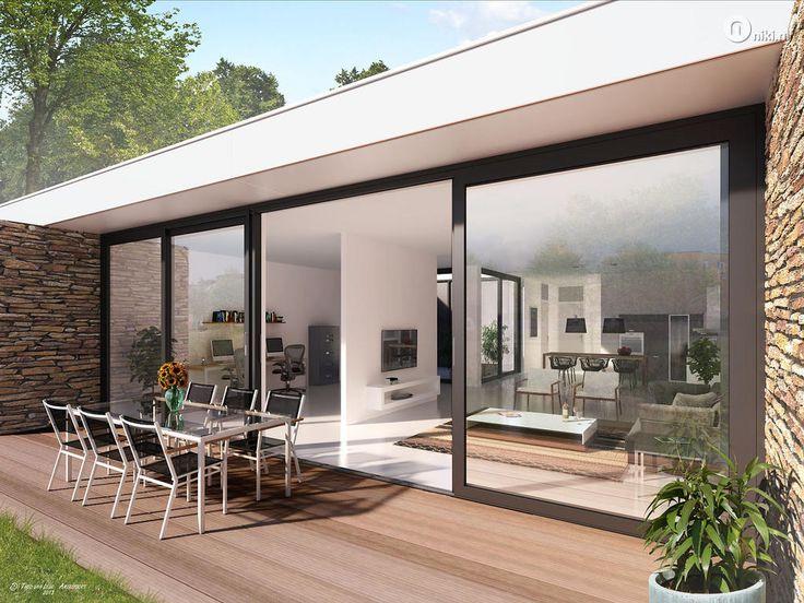 25 beste idee n over patiowoning op pinterest binnenplaats zwembad moderne architectuur en - Bungalow ontwerp hout ...