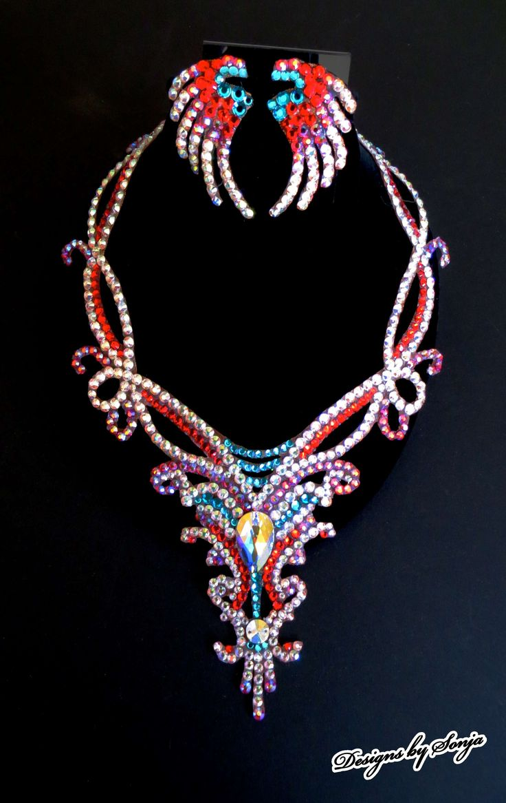 Ballroom jewelry, colorful Swarovski Crystal necklace designed and created by Sonja Ballin. All Jewelry Designs copyright ©2014, Sonja Ballin of Tampa Bay, Florida.  www.sonjadesigns.com Check us out  (and like) on Facebook:  https://www.facebook.com/pages/Designs-By-Sonja/220737151285770