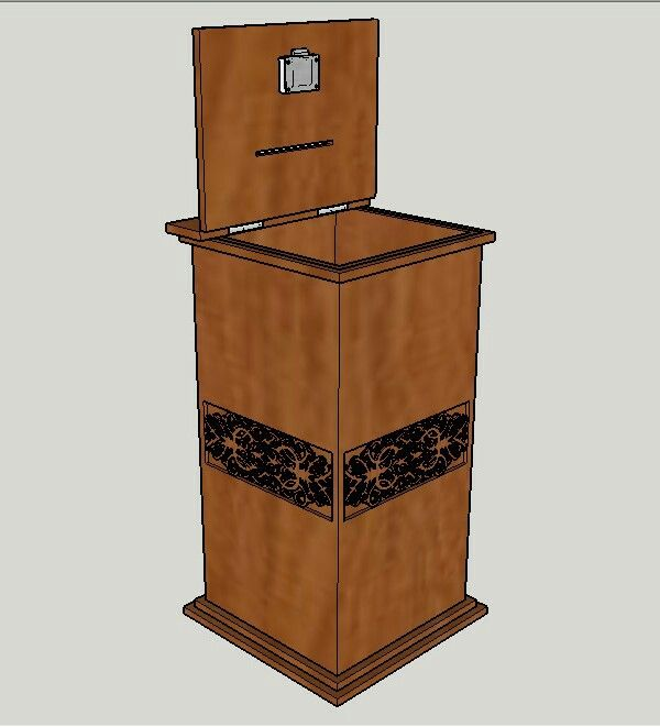 Wooden charity box design using SketchUp #nknproduction