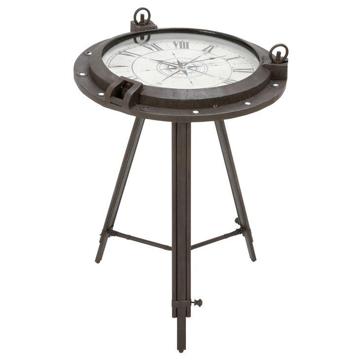 Casa Cortes Industrial Metal Round Clock Coffee Table | Overstock.com