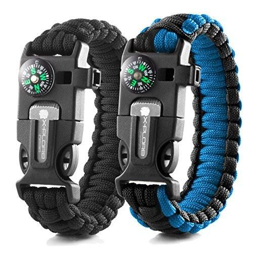 X-Plore Gear Emergency Paracord Bracelets | Set Of 2| The ULTIMATE Tactical Survival Gear| Flint Fire Starter, Whistle, Compass & Scraper/Knife| BEST Wilderness Survival-Kit — Black(R)/Blue(R)