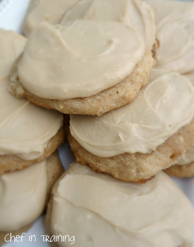 Applesauce Cookies with Caramel Frosting! I made these 7/2012, and they were really good. Addicting. You can't eat just one. The frosting is so simple, but the cookie wouldn't be so great without it. Roomies loved them! Also, it yielded a ton of cookies. Like 8 dozen.