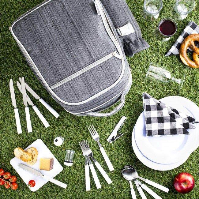 Have a gourmet picnic anywhere with this convenient backpack set that includes everything but the kitchen sink! With a built-in cooler compartment to keep drinks cold or keep food warm, all the bits and pieces for serving and eating and even a bottle opener, this is your all-in-one solution for summer picnic fun!