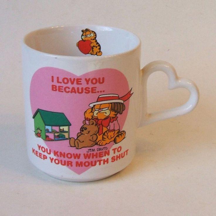 JimDavis Garfield Cat Humorous Heart Valentine Love Mug You Keep Your Mouth Shut