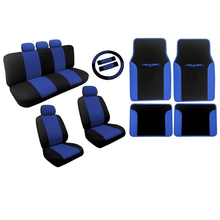Unique Black & Blue Seat Covers Two Tone Floor Mats Vinyl Trim - Toyota Camry (Color)