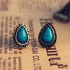 retro pino azul étnica de las mujeres pendientes de piedras ... – CLP $ 598