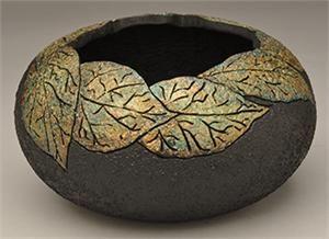 """*Gourd Art - """"Faux Raku Leaf Bowl"""" by Dianne Connelly"""