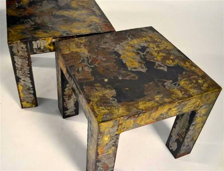 Pair Of Brutalist Style Patinated Metal Side Tables 4