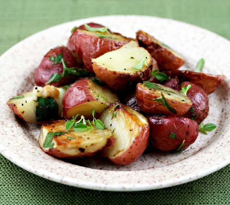 Roasted Potatoes with Lemon Thyme Vinaigrette by The Perfect Pantry: Ingredients, Food Recipes, Perfect Pantries, Thyme Vinaigrette, Side Dishes, Olives Oil, Roasted Potatoes, Lemon Thyme, Favorite Recipes