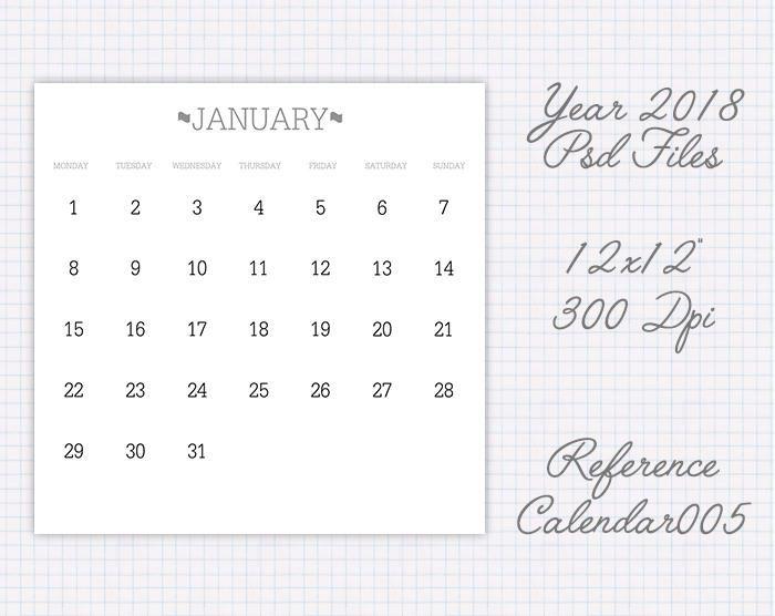 Plantilla calendario 2018 12x12 pulgadas la semana empieza en Monday refcalendar005 de JuanmiDesigns en Etsy