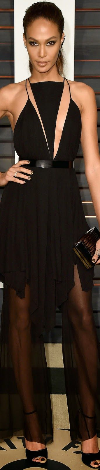 Joan Smalls in Balmain 2015 Vanity Fair Oscar Party