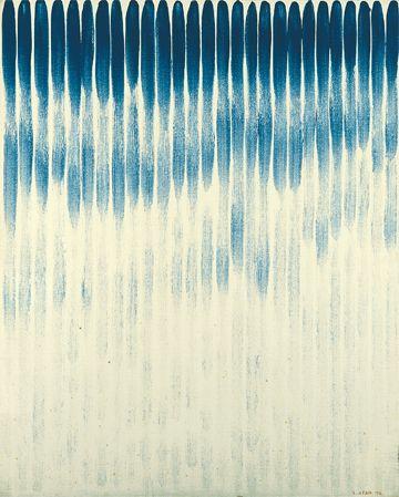 李禹煥《線より》 岩絵具,キャンバス 99.5 x 80.0cm,1976