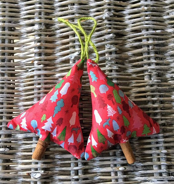 Christmas tree decoration in red scandi fabric with cinnamon