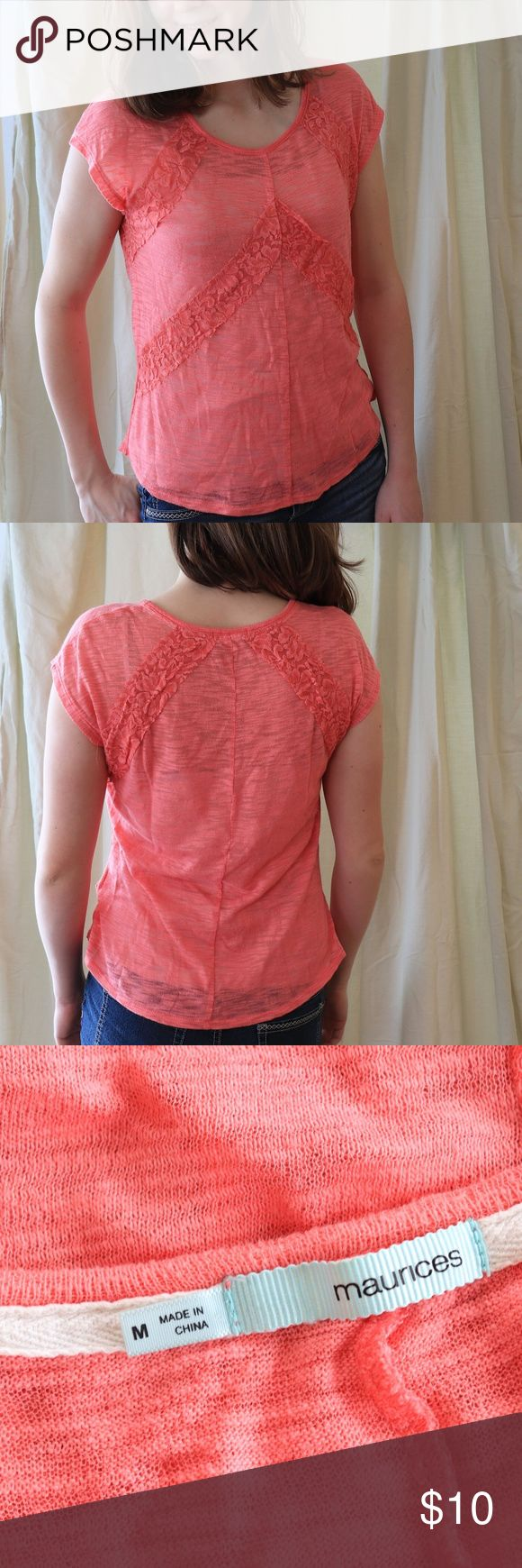"Maurices Pink/Coral Lace Blouse Hot pink/coral. Transparent but not sheer. Size medium. In good condition. The lace has some elastic strings coming out of it, but they aren't too visible. Very slight pilling. Otherwise, it's in good condition. I'm 5'7"", approx. 135 lbs. and it fits me well. Maurices Tops Blouses"