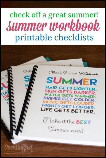 Make a summer checklist workbook for your kids to stay on top of things like chores and reading. #overstuffedlife Pinned over 5k times!