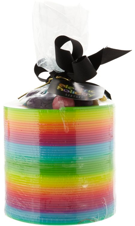"MOTIVATIONAL GIFT IDEA~  Put candy in the center of a slinky as a small gift or favor.  ""Way to go!  You really stretched yourself this year!""  (picture only)"