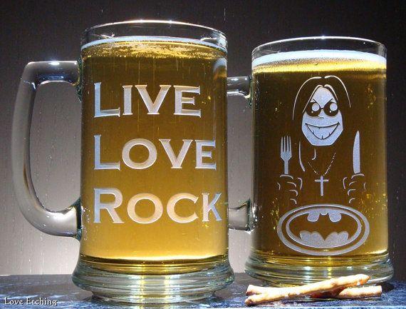 LIVE LOVE ROCK Etched Glass Beer Mug for Rock Music