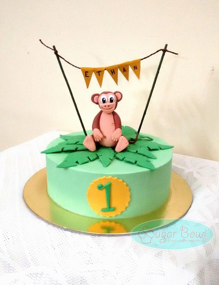 Monkey themed cake for 1st birthday