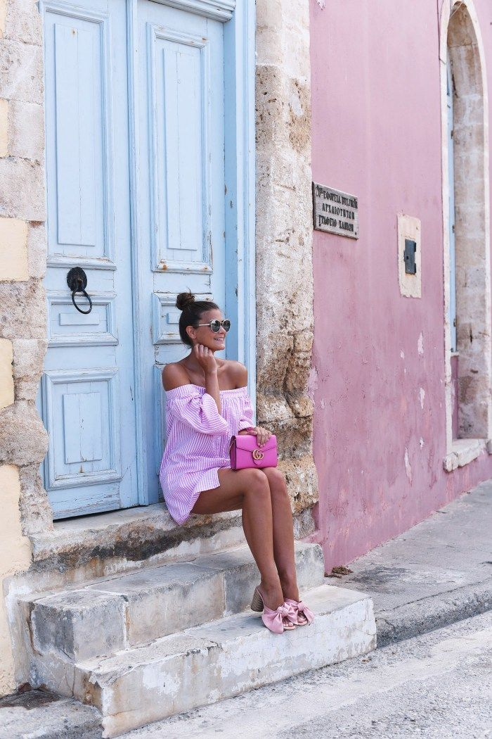 Fashion Carpet. Pink striped Off Shoulder Shirt+ Gucci Marmont Chain+ Bag Pink & Bow Mules. Late Summer Outfit 2016