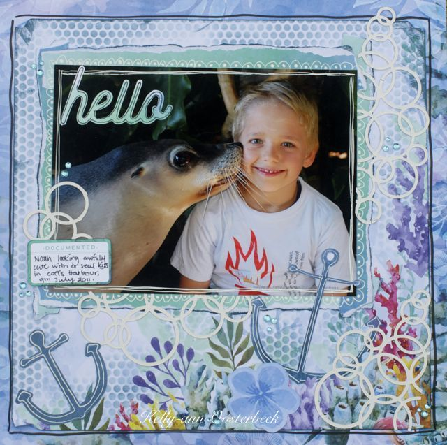 A layout by Kelly-ann Oosterbeek made using the Mermaid Tales Collection from Kaisercraft. www.amothersart.com.au