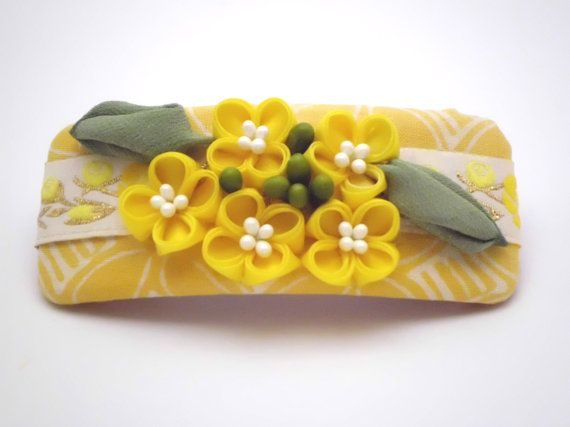 Yellow flower Nanohana Hair Barrette, FRENCH BARRETTE, Kanzashi flower, Cottage chic,  Fabric flower, Hair clip, Gift Ideas, OOAK