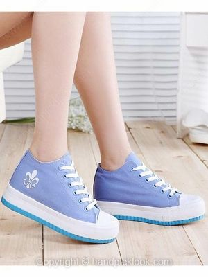 Blue Leatherette Flat Heel Closed Toe With Lace-up Shoes -$19.69