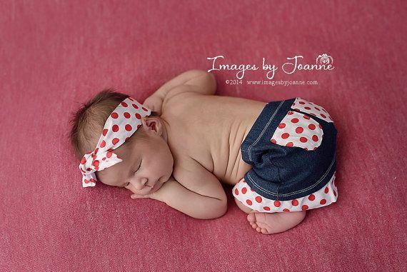 Newborn Denim Ruffle Skirt & Top Knot by JazzCraftBoutique on Etsy