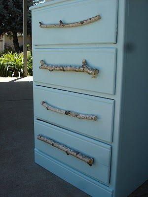 Make branch handles for a dresser.