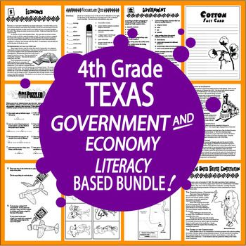 Our Texas Government and Economy Bundle uses TEKS-aligned lessons of Nonfiction Informational Text to teach your 4th Graders about the history of the United States Constitution, the Bill of Rights, Texas Government, Citizenship, Texas Economy, World War II, and so much more!