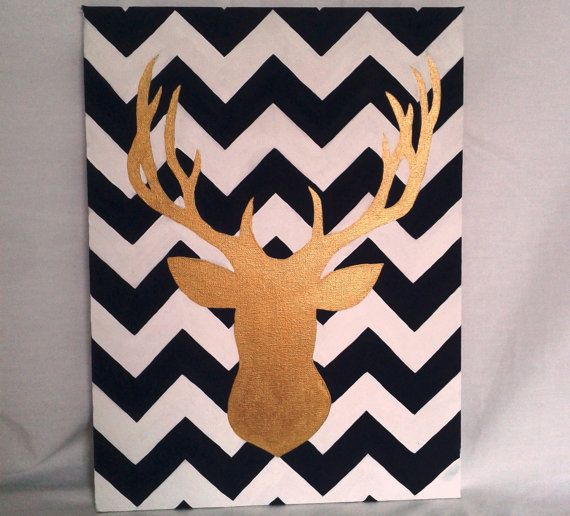 Deer Head Silhouette Canvas Art Painting with Chevron Background on Etsy, $37.88