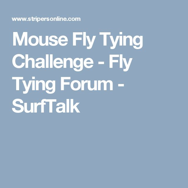 Mouse Fly Tying Challenge - Fly Tying Forum - SurfTalk