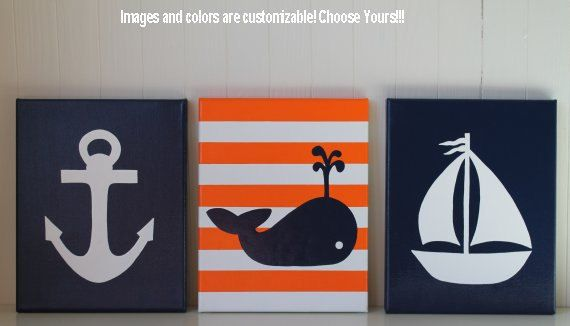 Nautical Nursery Decor Painting Sailboat Anchor Whale Nursery Navy Red White Nautical Wall Art Nautical Painting on Etsy, $50.00