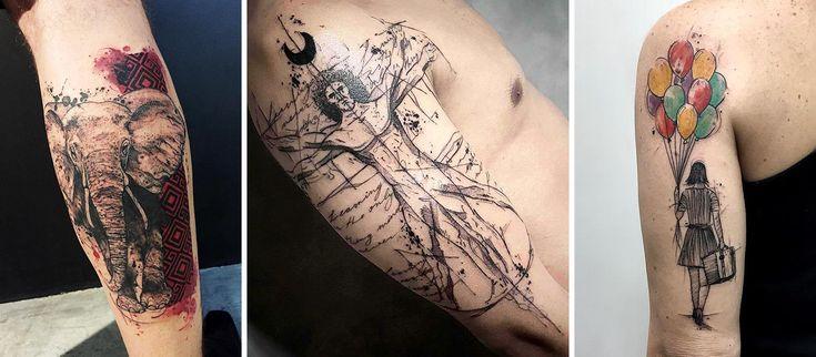 Em 2016 alguns artistas brasileiros se destacaram na cena da tatuagem. Selecionamos 21 deles. Nessa foto os trabalhos de Marcella Alves, Bernardo Art e Felipe Melo. #tattoo #tatuagem #aquarela #colorido #blackwork