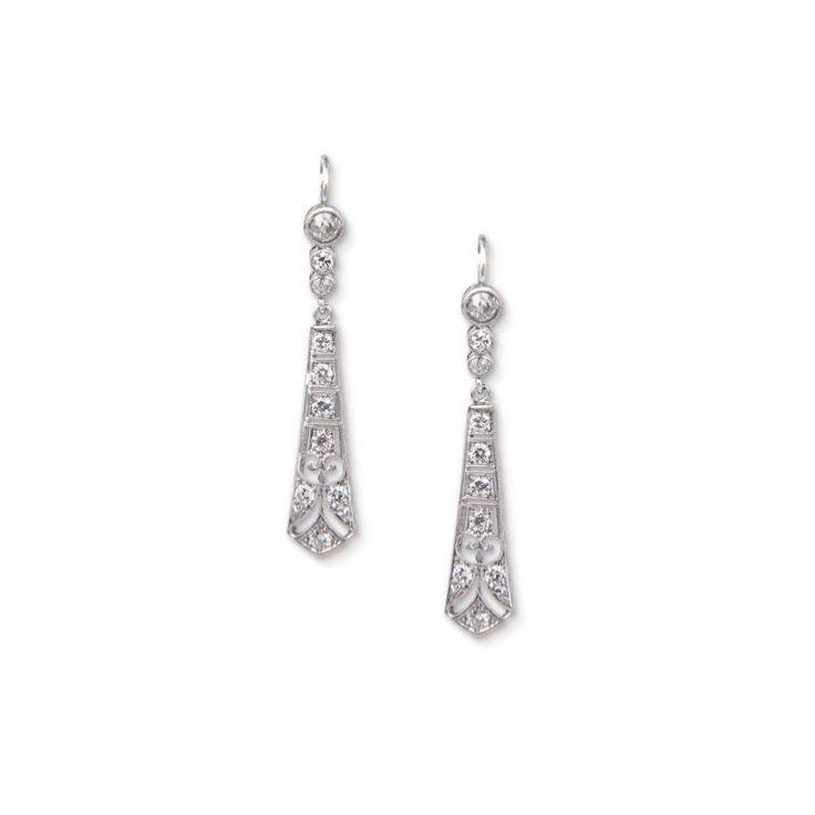 ZG63 Platinum Diamond Art Deco Earrings