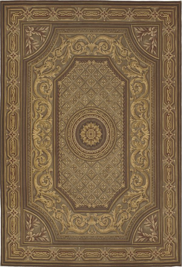 The Gravitas Aubusson Rug is a Federal Rug in gray, brown, gold and red.