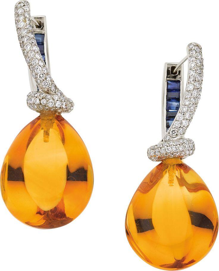 Citrine, Diamond, Sapphire, White Gold Earrings, ht