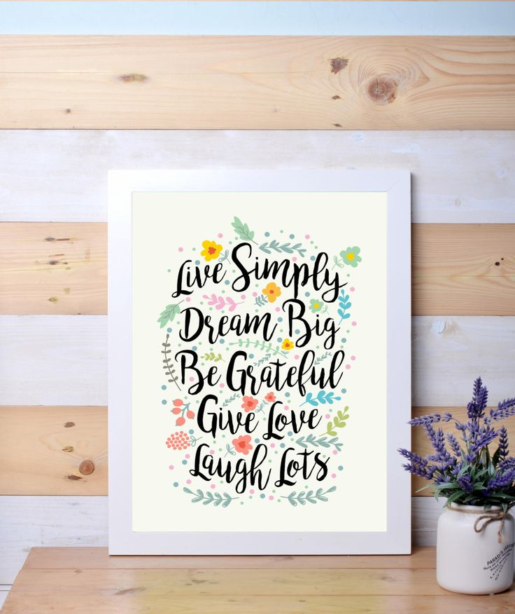Live Simply, Dream Big, wall decor, quotes, digital art by LanternLife on Etsy