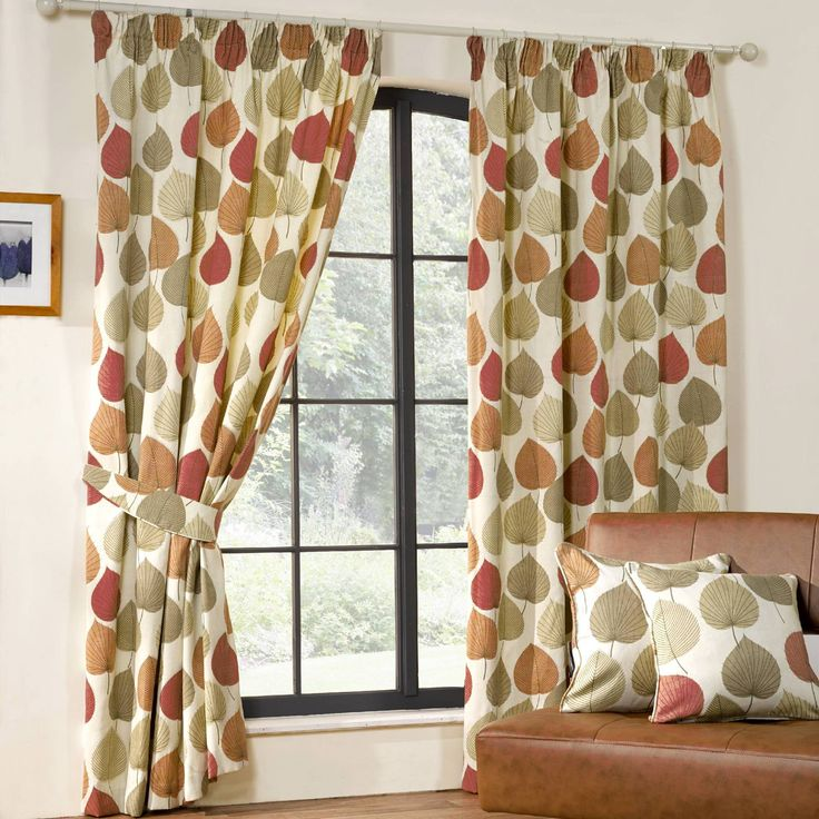 Inglewood modern leaf print curtains terracotta from 20 for Modern living room curtains uk