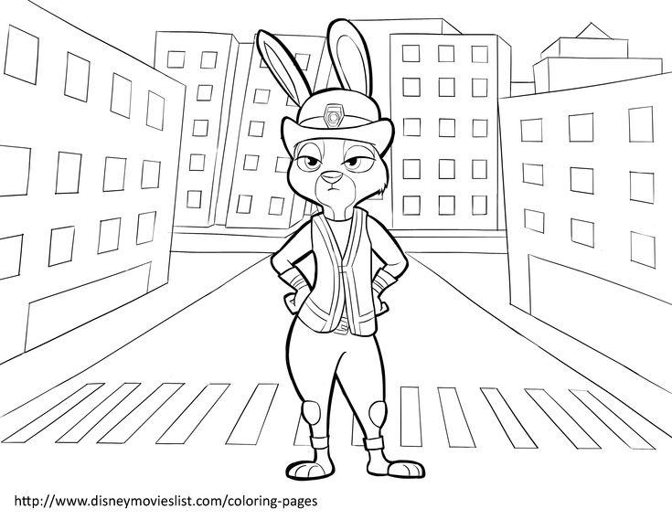 Disneys ZootopiaLieutenant Judy Hopps Coloring Page
