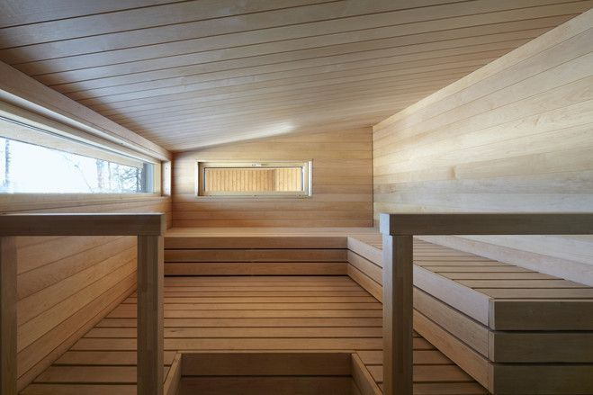 The interior of the sauna is made of alder wood. The exterior is built out of spruce. The sauna building includes a dressing room and bathroom. <br/> It's located about 50 miles east of the Finnish capital.