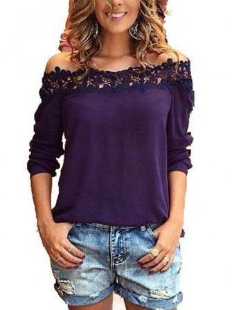 FREE SHIPPING! Lace Collar Off-shoulder Long Sleeve Chiffon Blouse Shirt Purple SKU259982