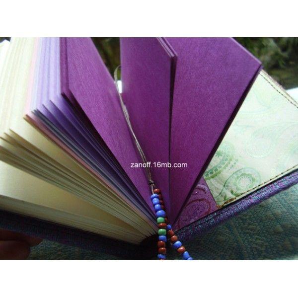 Notebook made with DIDYMOS India Natur Hemp babywrap -- beautiful beeds as a bookmark