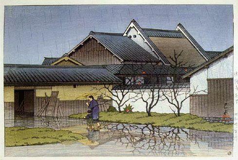 East Village, Horyuji Temple  by Kawase Hasui, 1956  (published by Watanabe Shozaburo)