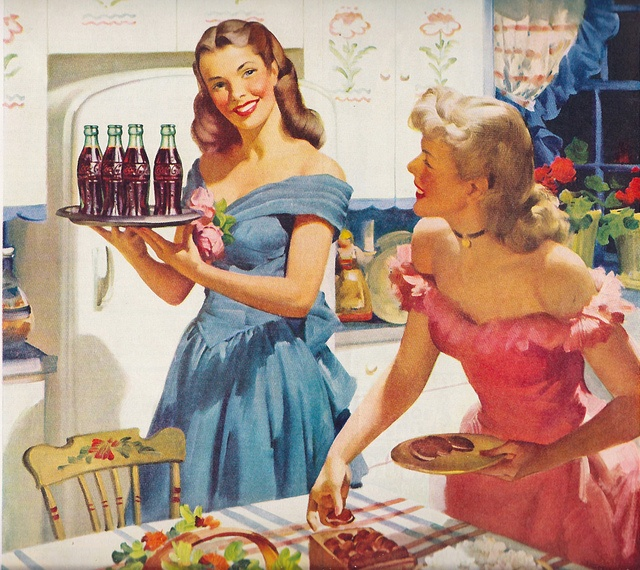 Vintage wives serving Coca-Cola and snacks at a get-together. Love the evening dresses in this wonderful 1948 Coke ad.