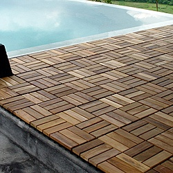 These decktiles enable a new teak floor on places like a deck, balcony, home office, walk-in closet, outdoor shower area and many more. Le click is a green product -- the wood slats are made of recycled wood from larger furniture cuts.http://www.overstock.com/Home-Garden/Le-click-Grade-C-Wood-Windmill-Style-Interlocking-Teak-Decktiles-Box-of-10/6666130/product.html?CID=214117 $54.99