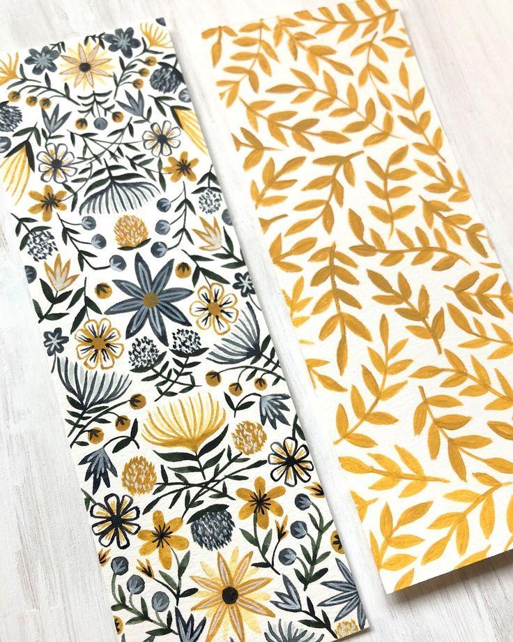 Blumenmuster Aquarell und Gouache Lesezeichen Duo … – #Bookmark #duo #floral #Gouache #illustration