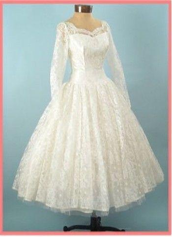 50's white lace tea length wedding dress