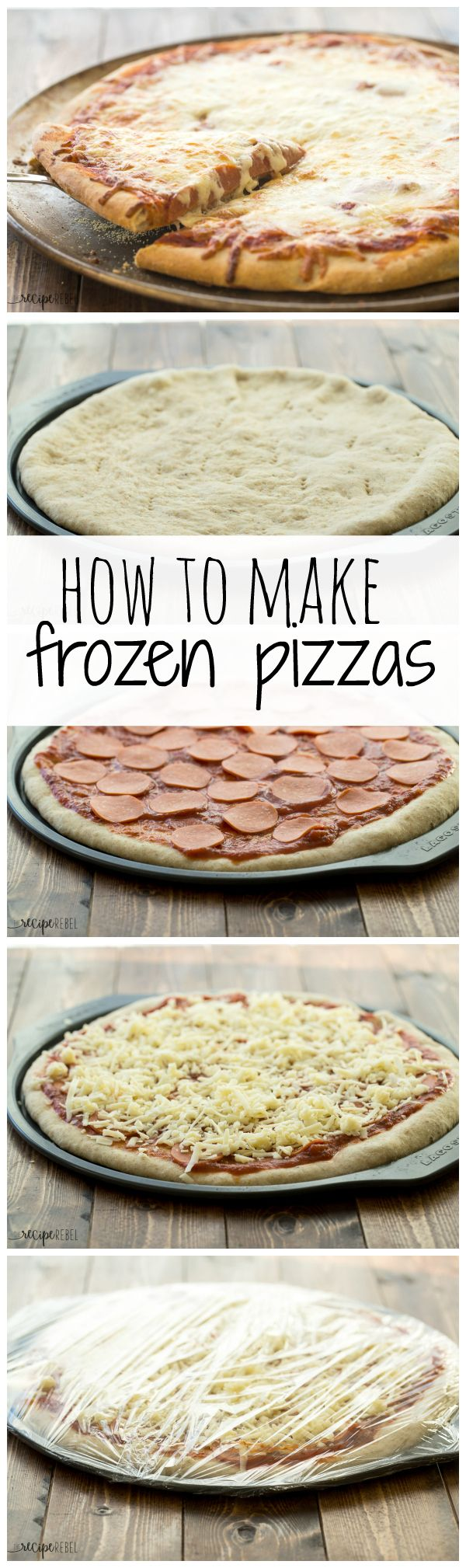 Step by step guide to making and freezing homemade frozen pizzas so you can enjoy them later! A freezer meal the whole family will love :)